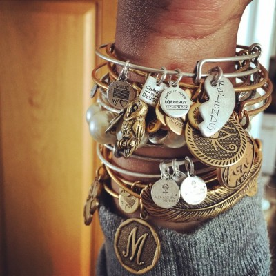 Stacked. I love my Alex and Ani Bracelets. Each piece…