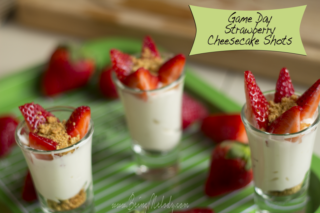 Game Day Strawberry Cheesecake Shots wwwbeingmelodycom