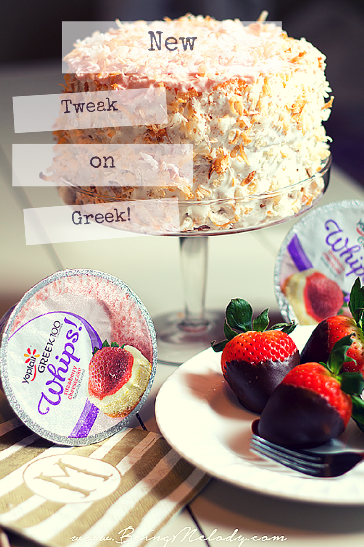 Amp up your dessert with a new Tweak On Greek. This recipe for a Strawberry Coconut Pound Cake topped with Yoplait Greek 100 Whips! is sure to be a winner!,