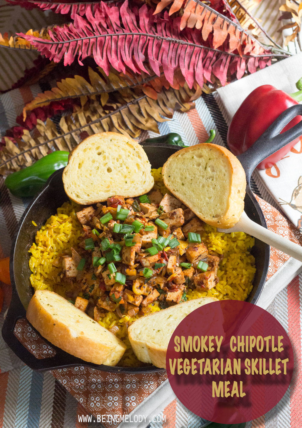 Looking for a quick weekday meal? Try this Smokey Chipotle Vegetarian Skillet! |BeingMelody.com| @BeingMelody