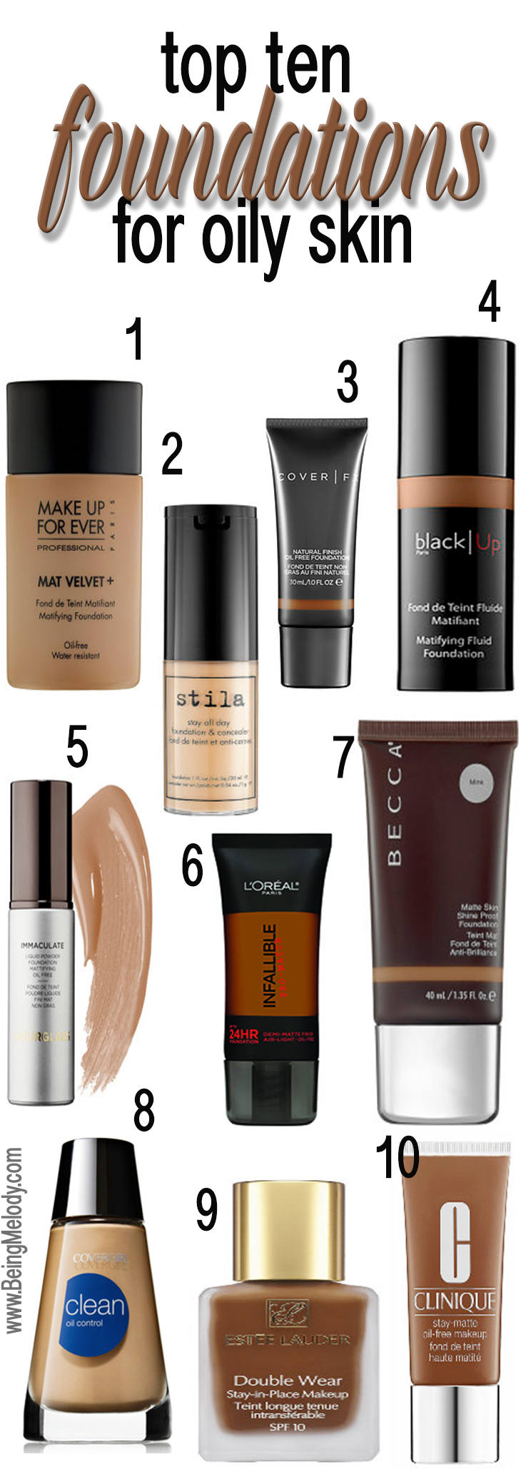 Top Ten Foundations For Oily Skin Www Beingmelody Com
