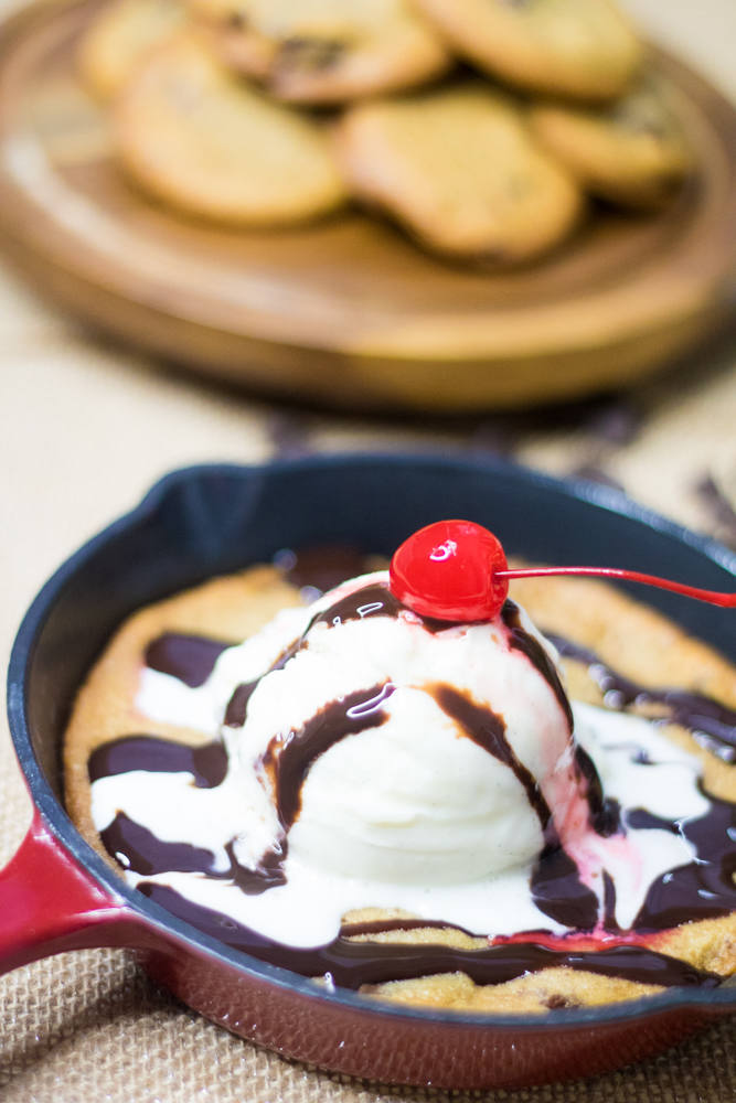 Restaurant style skillet cookies topped with ice cream make an excellent dessert. www.beingmelody.com