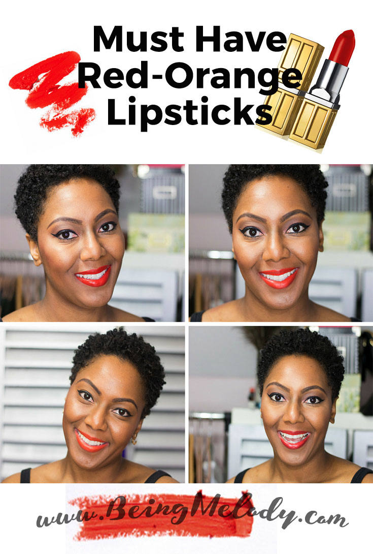 Must have Red Orange Lipsticks that Look great on Medium Brown Skin. www.beingmelody.com
