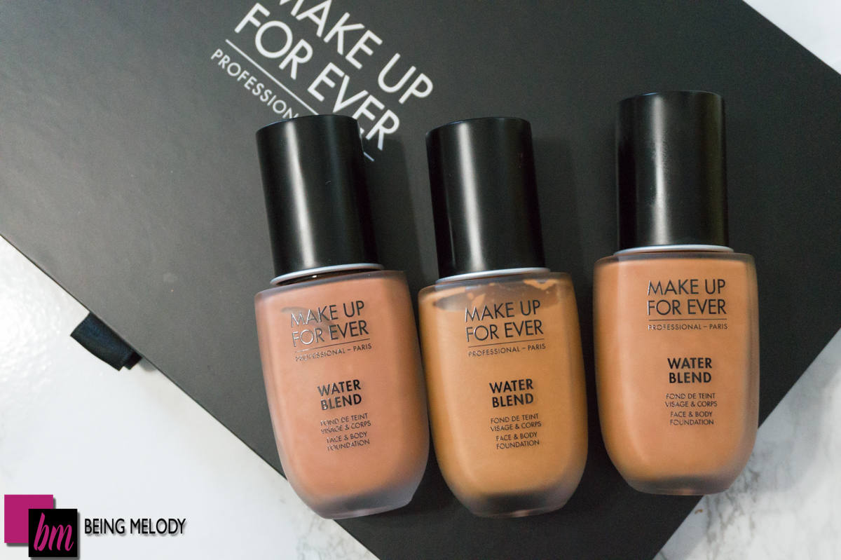 Make Up For Ever Water Blend Foundation in shades Y455 Y445 and R430. www.beingmelody.com