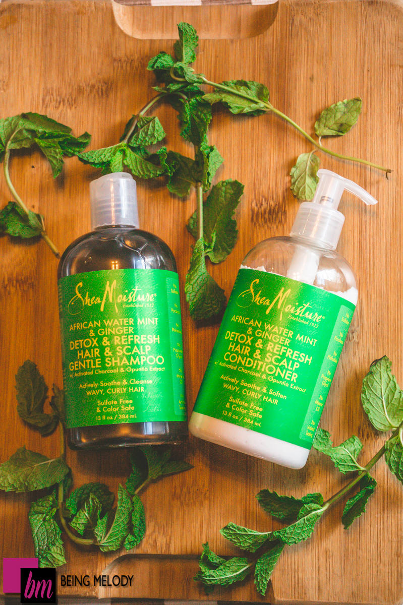 Shea Moisture African Water Mint & Ginger Detox & Refresh Hair and Scalp Conditioner Review www.beingmelody.com