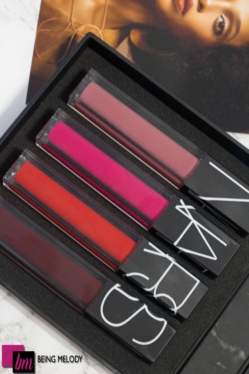 Nars Velvet Lip Glide in Bound, Dancteria, No. 54, and Toy