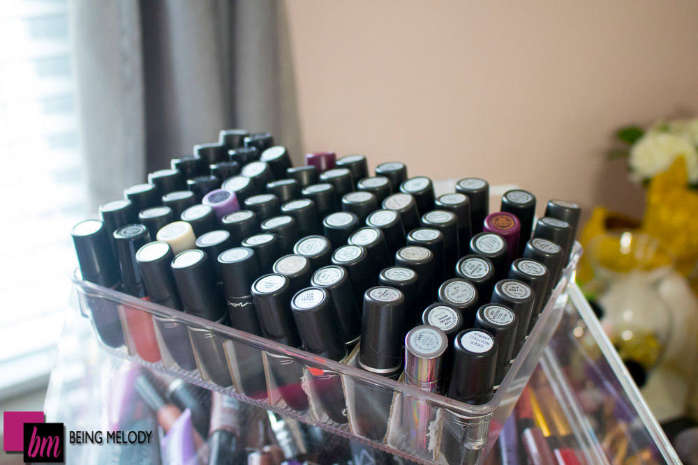 How to Organize Your Lipstick Collection in an Acrylic Makeup Orgranizer www.beingmelody.com