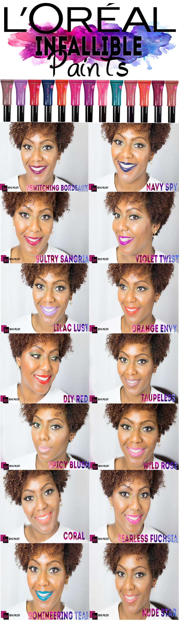Loreal Infalilble Lip Paints Swatched on Medium Brown Skin. Several shades are perfect for Women of Color.