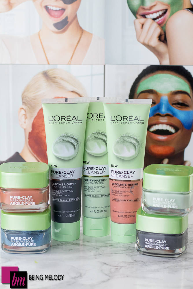 L'oreal Pure Clay Collection Cleansers and Mask www.beingmelody.com