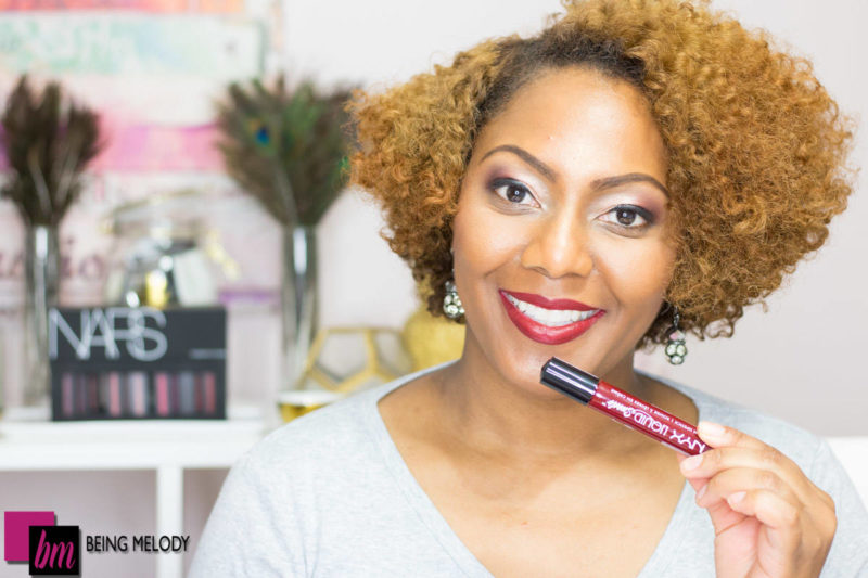 Photo of Melody Robinson Wright editor of Being Melody wearing the NYX cosmetics Ultimate Matte Finish Shadow Palette in Warm Rust and Liquid Suede Lipstick in Cherry Skies www.beingmelody.com