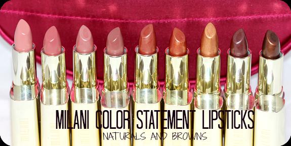 Milani Cosmetics Naturals and Browns ColorStatement Lipsticks