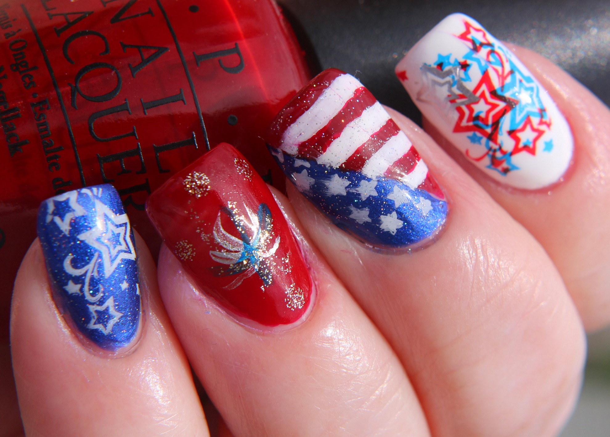 Finger Lickin\' Good Fourth of July Nail Art! - www.beingmelody.com